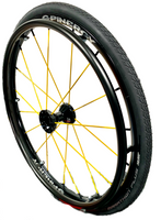 "24"" SPINERGY SPOX, 18 Yellow-Spoke Wheel, WIDE hub & 1/2"" Bearings"