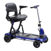 Drive Medical ZooMe Flex Ultra Compact Folding Travel 4 Wheel Scooter, Blue