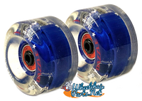 "CW098 Volcanic Self Light-Up ""Dazzle"" Skate Wheel, 58x32mm. Navy Blue  Hub"