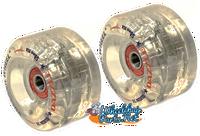 "CW097 Volcanic Self Light-Up ""Dazzle"" Skate Wheel, 58x32mm. CLEAR Hub"