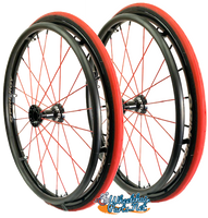 "Set of 2, 24"" SPINERGY SPOX, 18 RED-Spoke Wheel, WIDE hub & 1/2"" Bearings"