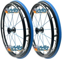 "Set of 2, 24"" SPINERGY SPOX, 18 BLUE-Spoke Wheel, WIDE hub & 1/2"" Bearings"
