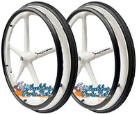 "Set of 2 X-CORE Wheels 24"" (540) WHITE Color & SHOX Tires and Pushrims"