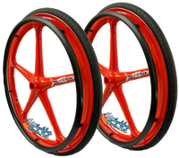 "Set of 2 X-CORE Wheels in 24"" (540) RED Color With PRIMO SENTINEL Tires & PushRims"