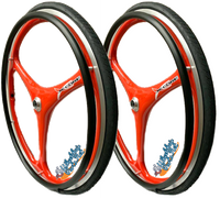 "Set of 2 X-CORE Wheels in 25"" (559) in RED Color With Tires & PushRims"