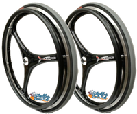 "Set of 2 X-CORE Wheels in 25"" (559) in BLACK Color With Tires & PushRims"
