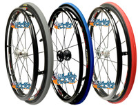 "SET of 2,  24"" (540mm) Fusion 16 rim with PRIMO Pneumatic V-Track Tire in Red, Blue and Grey Color"