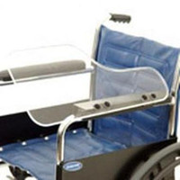 Wheelchair Acrylic Half Lap Tray with Flip-Up Hardware. Clear