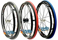 "SET of 2,  25"" (559mm) Fusion 16 rim with PRIMO V-Track Tire in Red, Blue and Grey Color"