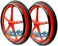 "Set of 2 X-CORE Wheels 24"" (540) RED Color With PRIMO STREET Tires & Push Rims"