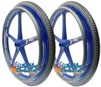 "Set of 2 X-CORE Wheels 24"" (540) BLUE Color With PRIMO STREET Tires & Push Rims"