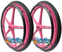 "Set of 2 X-CORE Wheels 24"" (540) PINK Color With PRIMO STREET Tires & Push Rims"