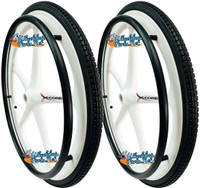 "Set of 2 X-CORE Wheels 24"" (540) WHITE Color With PRIMO STREET Tires & Push Rims"