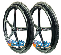 "Set of 2 X-CORE Wheels 24"" (540) BLACK Color &  Solid SHOX ALL Terrain Tires"