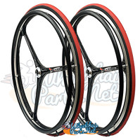 "NEW - SET of X-CORE 24"" (540m) 3 Spoke WheelS With RED Primo Racer Tires"