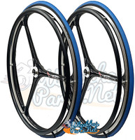 "NEW - SET of X-CORE 24"" (540m) 3 Spoke Wheel With BLUE Primo Racer Tires"