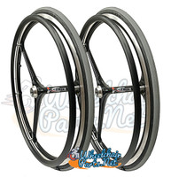 "NEW - SET of X-CORE 24"" (540m) 3 Spoke Wheel With GREY Primo Racer Tires"
