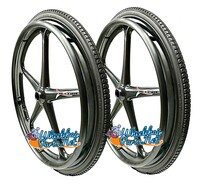 "Set of 2 X-CORE Wheels 24"" (540) BLACK Color With PRIMO SOLID STREET Tires & Push Rims"