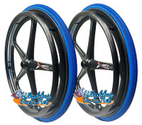 "Set of 2 X-CORE Wheels 24"" (540) BLACK Color With SHOX G1 SOLID Tires & Push Rims"