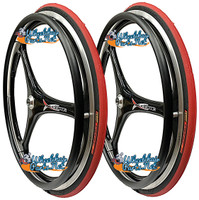 "RW59X  25 X 1"" (559mm)  X-CORE 3 SPOKE WHEEL W/PRIMO RACER RED TIRE"