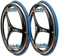 "RW59X  25 X 1"" (559mm)  X-CORE 3 SPOKE WHEEL W/PRIMO RACER BLUE TIRE"