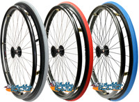 "SET of 2,  24"" (540mm) SUN CR20 Rim with PRIMO Pneumatic V-Track Tire in Red, Blue and Grey Color"
