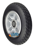 """7""""x2"""" Black Flat-Free Front Wheel Assembly with Silver Rim for the Go-Go Elite Traveller (SC44E) and Go-Go Ultra X (SC44X) 4-Wheel Mobility Scooter"""