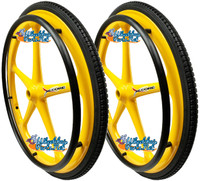 "Set of 2 X-CORE Wheels 24"" (540) YELLOW Color With PRIMO STREET Tires & Push Rims"