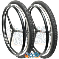 "NEW - SET of X-CORE 24"" (540m) 3 Spoke Wheel With BLACK (Non Marking) Primo Orion Tires"