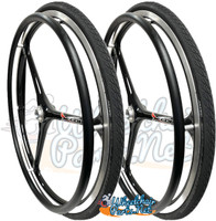 "NEW - SET of X-CORE 24"" (540m) 3 Spoke Wheel With Schwalbe Marathon Tires"