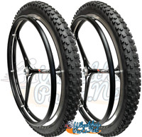 "NEW - SET of X-CORE 24"" (540m) 3 Spoke Wheel With Kenda Nevegal Tires"