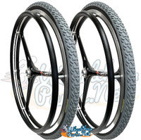 "NEW - SET of X-CORE 24"" (540m) 3 Spoke Wheel With PRIMO All Terrain Tires"
