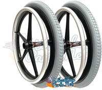 "20"" X 1 3/8"" X-CORE 5 SPOKE WHEEL WITH PNEUMATIC TIRE AND PUSHRIMS."