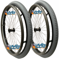 "22"" x 1 3/8"" Sun L20 Rim With Solid Everyday PNEUMATIC TIRES. SET OF 2 WHEELS"