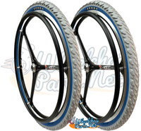 "NEW - SET of X-CORE 24"" (540m) 3 Spoke Wheel With Kenda KOBRA Tires"