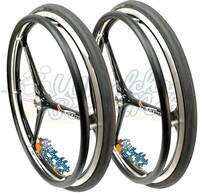 "NEW - SET of X-CORE 24"" (540m) 3 Spoke Wheel With Schwalbe Rigth Run Lite Tires"
