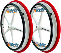 "Set of 2 X-CORE Wheels 24"" (540) WHITE Color & SHOX Tires in RED COLOR"
