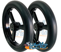 "CW526 6"" X 1"" Aluminum 3 Spoke wheel / Soft Urethane Tire with 5/16"" bearings. Sold as Pair"