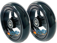 "4"" X 1"" Aluminum 3 Spoke Wheel, Silver or Black Rim / Soft Urethane Tire with 5/16"" bearings."