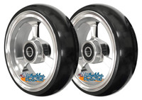 "4"" X 1.4"" Aluminum 3 Spoke Wheel, Silver or Black Rim / Soft Urethane Tire with 5/16"" bearings."