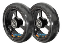 "5"" X 1.4"" Aluminum 3 Spoke Wheel, Silver or Black Rim / Soft Urethane Tire with 5/16"" bearings."