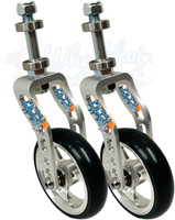 SILVER Aluminum Caster Fork Assembly With Wheels. Choose Your Wheel Size