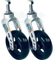 Aluminum Caster Fork (Silver) Assembly With Wheels. Choose Your Wheel Size
