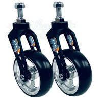 Aluminum Caster Fork (Black) Assembly With Wheels. Choose Your Wheel Size