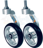 Single Sided Aluminum Caster Fork (Silver) Assembly With Wheels. Choose Your Wheel Size