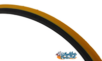 "T096-3P-  25 X 1"" YELLOW RACER TIRE. SOLD AS PAIR"