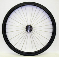 "RW290- 25"" (559) 36 RADIAL SPOKE, HIGH PERFORMANCE REAR WHEEL WITH 3"" BLACK FLANGED HUB. COMPLETE PAIR."