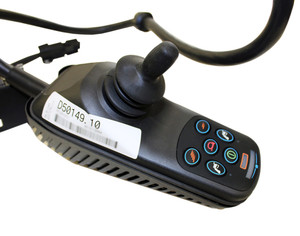 View of a 70 Amp, 6 Button VSI Joystick Module w right angle connector, Part number (D50149)