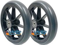 """CW346P - 6x1"""" 8 Spoke Wheel W/ Urethane Round Tire. Sold as Pair"""