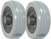 "CW231 - 6x2"" Wheel W/ RIB Urethane Tire and  5/16 Bearings. Sold As Pair"